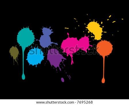 Vector splatter of colored ink - stock vector