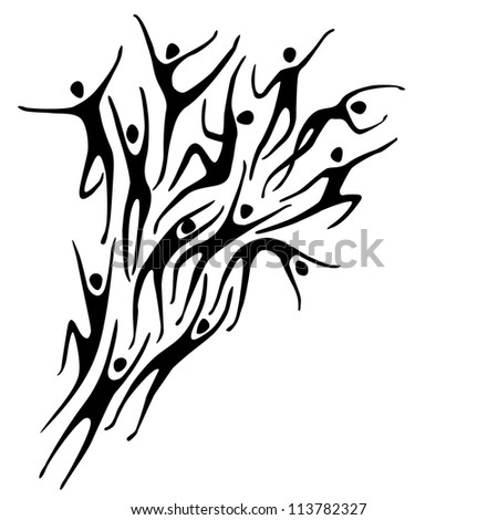 Vector sport background with silhouettes of person and text box. Abstract black and white illustration with figures of peoples in motion. Concept of freedom, competition, activity for print and web - stock vector