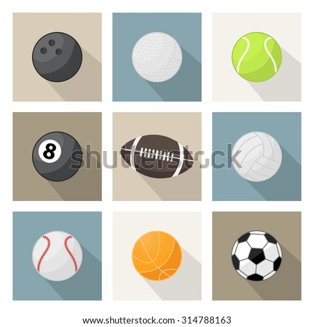 Vector sport balls icon, sign, symbol, pictogram set in flat style with long shadow isolated on a white background or over white. Different sport equipment and balls. Sports game - stock vector