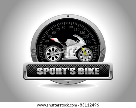 vector sport bike in speedometer - stock vector
