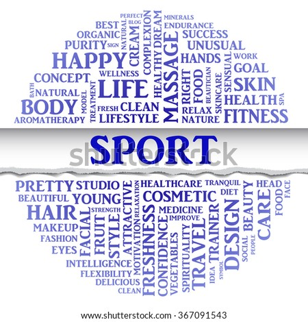Vector SPORT concept related words in tag round cloud isolated on white background with different association sport and fitness terms. The effect of torn paper - stock vector