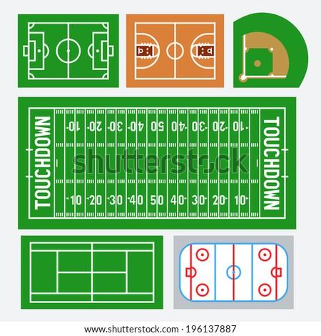 Vector sport fields set: soccer, basketball, baseball, american football, tennis, hockey - stock vector