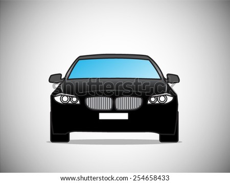 Vector sports black car front view - stock vector