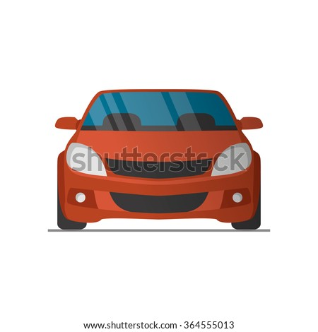 Vector sports red car front view illustration - stock vector