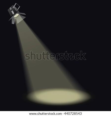 Vector Spotlight with light beam - stock vector