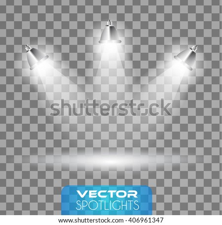 Vector Spotlights scene with different source of lights pointing to the floor or shelf. Ideal for featuring products. Lights are transparent so ready to be placed on every surface. - stock vector