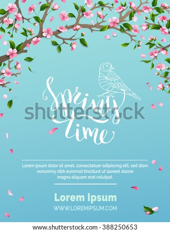 Vector spring background. Spring time. Blossoms and leaves on tree branches. Falling petals. Bird contour. Hand-written brush lettering. There is place for your text in the sky. - stock vector