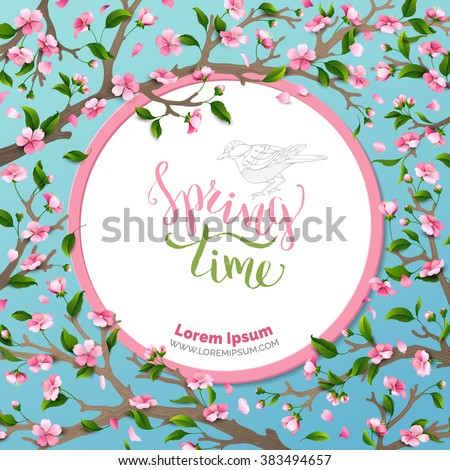 Vector spring background. Spring time.  Spring flowers and leaves on tree. Round frame. Handwritten brush lettering. Vector card template. You can place your text in the center on white background. - stock vector