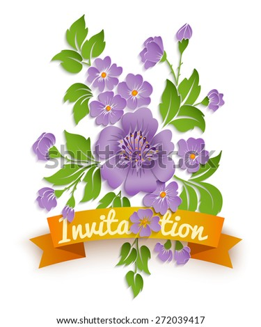 Vector spring background with volumetric flowers. Paper cut flowers on white background. With orange ribbon. - stock vector