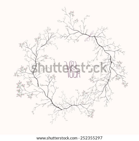 Vector spring blooming frame made of tree branches and flowers, copy space composition on pink background - stock vector
