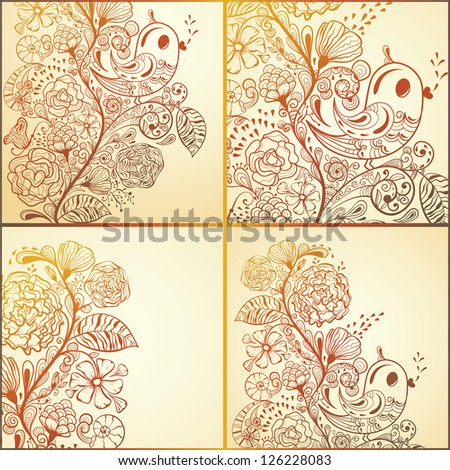Vector spring cards with floral pattern and birds, fully editable eps 8 file - stock vector