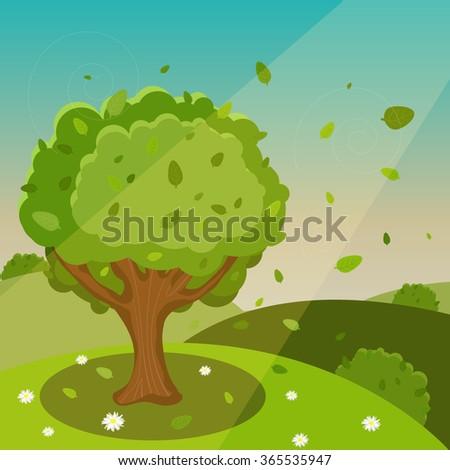 Vector Spring Cartoon Landscape - stock vector