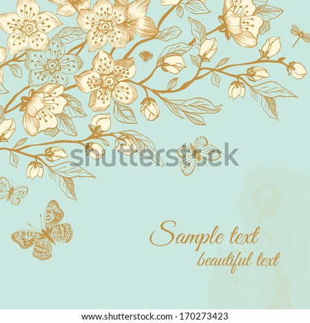 Vector spring floral greeting vintage card. Blooming sakura branch with butterflies on mint background. - stock vector