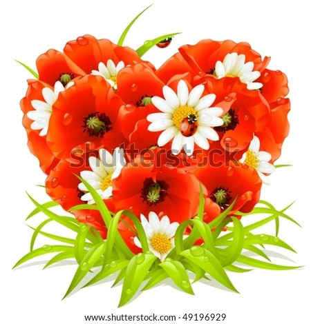 Vector spring flowers in the shape of Heart - stock vector