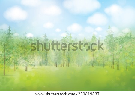 Vector spring landscape. - stock vector