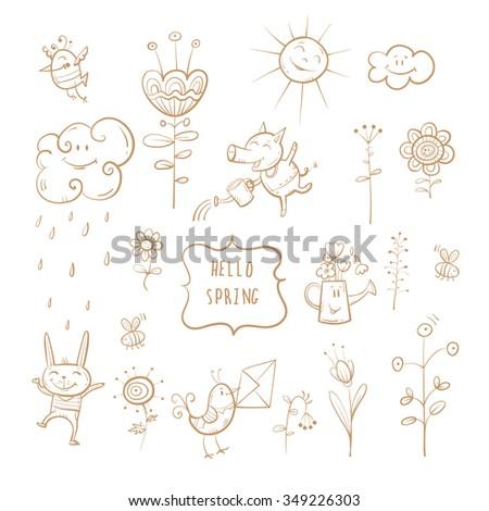 Vector spring set. Cartoon animals and plants. - stock vector