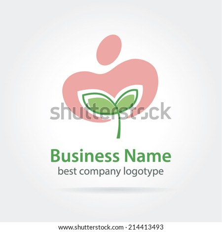 Vector sprout in care logotype isolated on white - stock vector