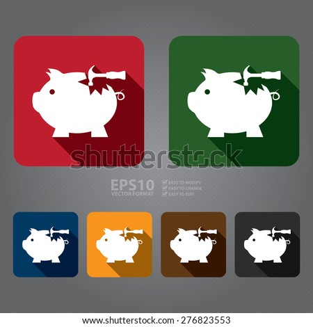 Vector : Square Broken Piggy Bank With Hammer Flat Long Shadow Style Icon, Label, Sticker, Sign or Banner - stock vector