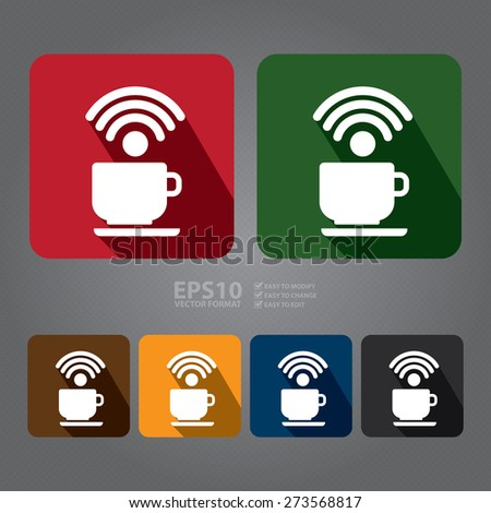 Vector : Square Coffee Shop, Coffee Cup With Wifi Long Shadow Style Icon, Label, Sticker, Sign or Banner  - stock vector