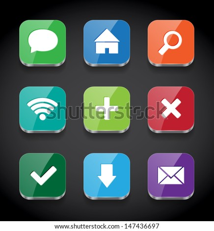 Vector square colorful glossy app icons collection - stock vector