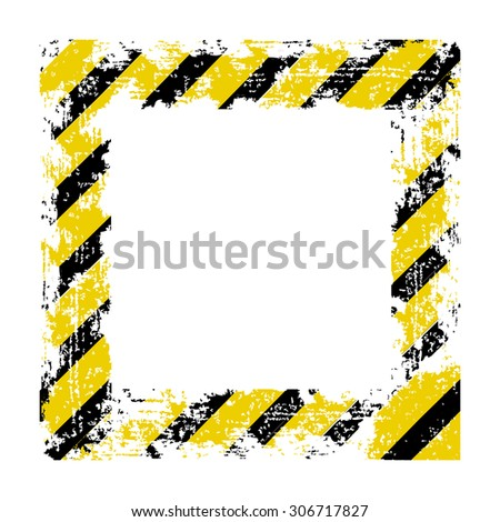 vector square frame black yellow shabby old lines warning of the dangers of - stock vector