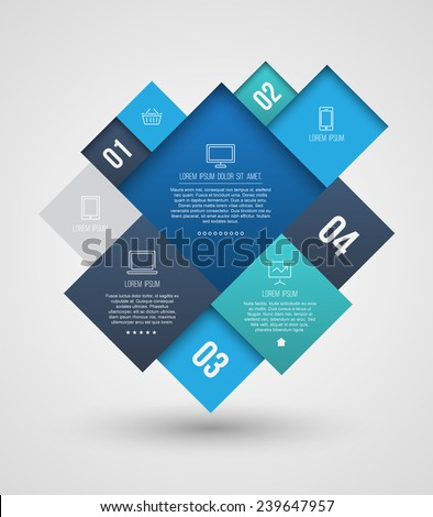 Vector square group with icons number for brochure, flyer, magazine cover & poster template, and business concept. Vector illustration. - stock vector