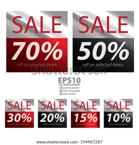 Vector : Square Metallic Style Sale 10-70 Percent Off on Selected Items Sticker or Label Isolated on White Background - stock vector