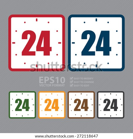 Vector : Square One Day Sale, Open 24 Hours or Service 24 Hours Label, Sign or Icon  - stock vector