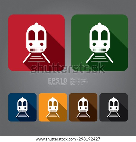 Vector : Square Train, Subway Station or Railway Station Flat Long Shadow Style Icon, Label, Sticker, Sign or Banner - stock vector