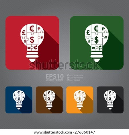Vector : Square Various Currency Sign Puzzle in Light Bulb Flat Long Shadow Style Icon, Label, Sticker, Sign or Banner - stock vector