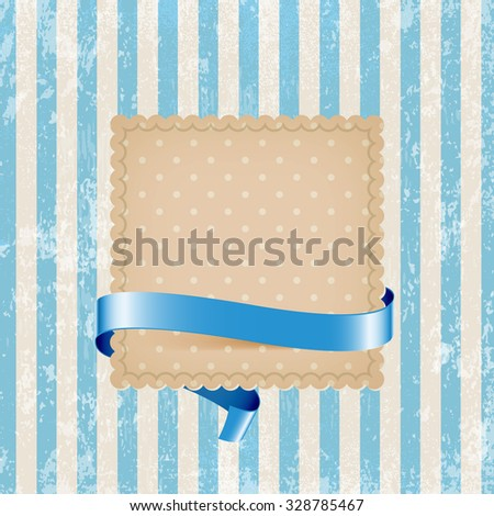 Vector square vintage cardboard label decorated with glossy silky ribbon over blue striped weathered background. Old paper grungy texture. Retro style. - stock vector