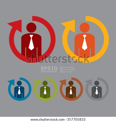 Vector : Staff or Employee Turnover Infographics Flat Icon, Sign - stock vector