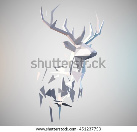 Vector stag illustration. 3d paper fold design effect. Low poly effect . Deer formed by triangle shapes. Abstract design element. - stock vector