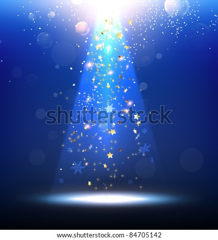 Vector Stage Spotlight with snowflakes and glow stars - stock vector
