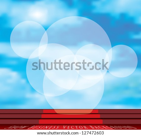 vector stage with red carpet on stairs and cloudy sky with spotlights - stock vector