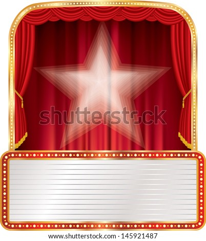 vector stage with star and blank billboard  - stock vector