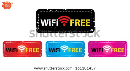 Vector: Stamp or sticker, icons, label wifi free colorful collection. Eps10. - stock vector