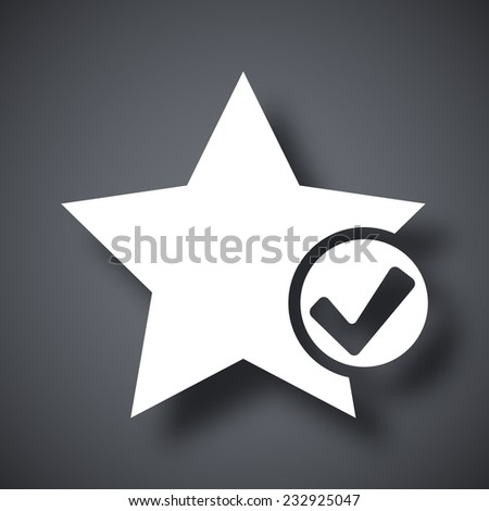 Vector star favorite icon with check mark glyph - stock vector