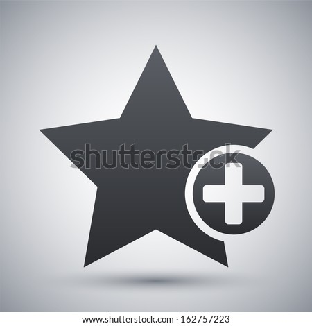 Vector star favorite icon with plus glyph - stock vector