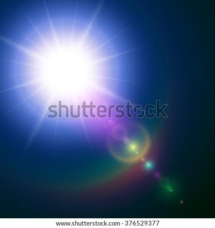 Vector star, sun with lens flare. - stock vector