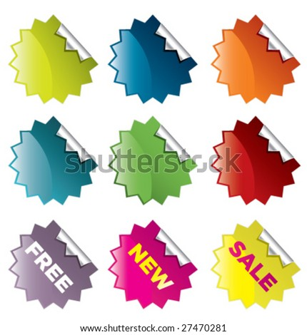 vector starburst stickers for retail and other use - stock vector