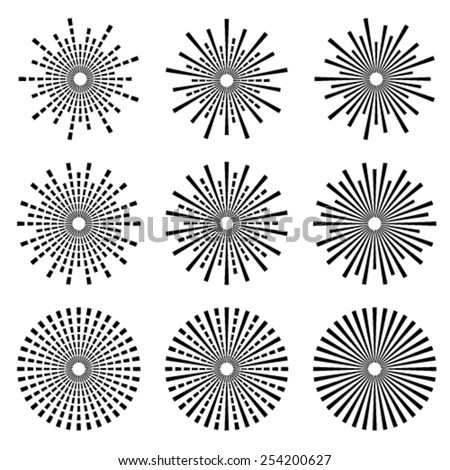 vector starbursts black symbols - stock vector