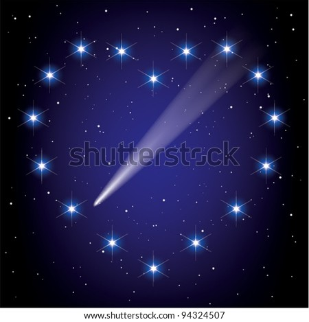 vector stars in space in the shape of heart and comet flying through it - stock vector