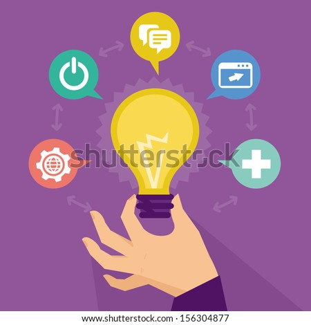 Vector start up concept - business icons and signs - stock vector