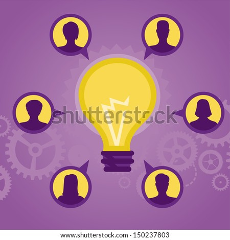 Vector start up concept - social media icons and signs - stock vector