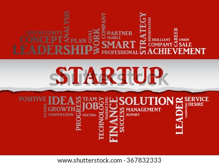 Vector STARTUP concept related words in tag cloud isolated on red, business concept, internet, trade. The effect of torn paper  - stock vector