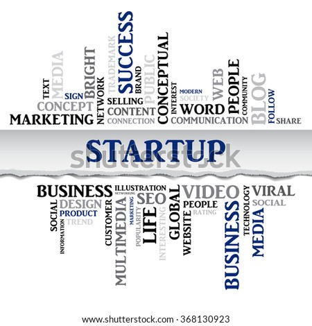 Vector STARTUP concept related words in tag cloud isolated on white, business concept, internet, trade. The effect of torn paper  - stock vector