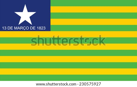 Vector State flag of Piaui in Brazil. Original and simple Piaui flag isolated vector in official colors and proportion correctly. - stock vector