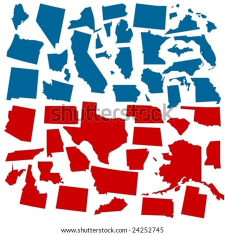 vector states of america in voter colors - stock vector