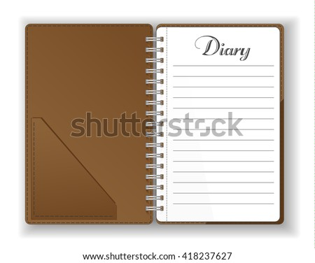 Vector. Stationery. An open pocket diary / notebook / scrapbook / textbook / notepad / organizer /  journal. Isolated illustration. Blank pages. - stock vector
